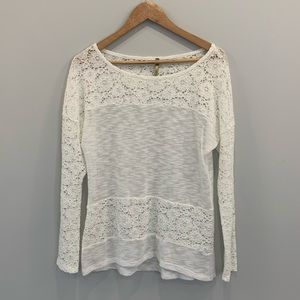 West Kei Off White Lace Knit Sweater